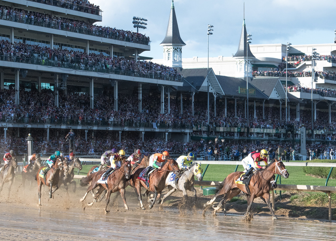 State of Honor Leads Always Dreaming and the rest of the 143rd Kentucky Derby field into the first turn.