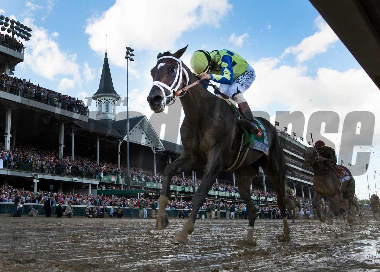 Jockey John Velazquez on Always Dreaming as he wins the 143rd running of the Kentucky Derby May 6, 2017 in Louisville, Kentucky.  Photo by Skip Dickstein