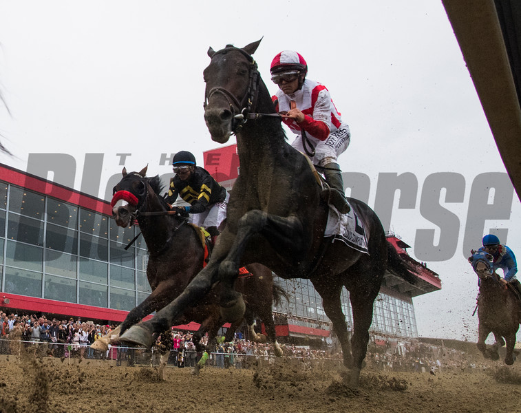 Cloud Computing with jockey Javier Castellano, heads in to the clubhouse turn on the way to the win in the 142nd running of the Preakness Stakes Saturday May 20, 2017 at Pimlico Race Course in Baltimore, MD.  Photo by Skip Dickstein