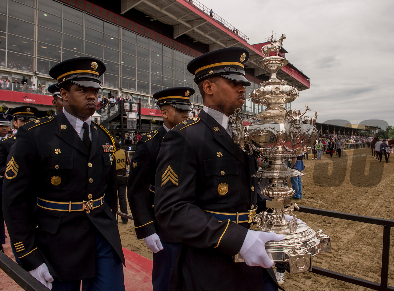 The Woodlawn Vase is carried by a military honor guard to the infield presentation stand to be awarded to the winner in perpetuity of the 142nd running of the Preakness Stakes at May 20, 2017 at Pimlico Race Course in Baltimore, MD. Photo by Skip Dickstein