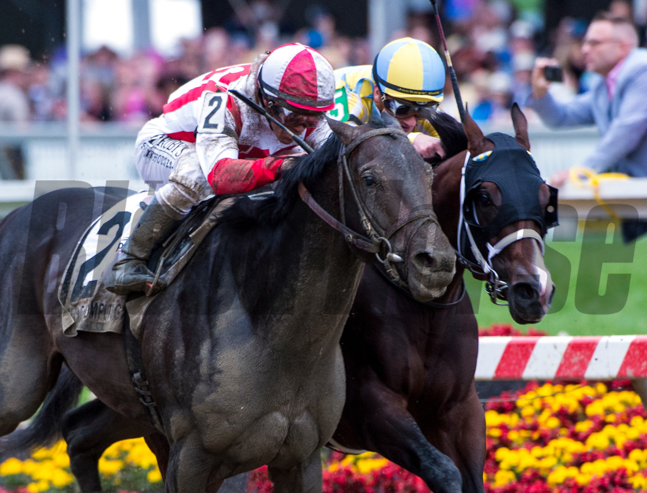 Cloud Computing with jockey Javier Castellano, left catches Classic Empire with jockey Julien Leparoux at the wire to win the 142nd running of the Preakness Stakes Saturday May 20, 2017 at Pimlico Race Course in Baltimore, MD.  Photo by Skip Dickstein
