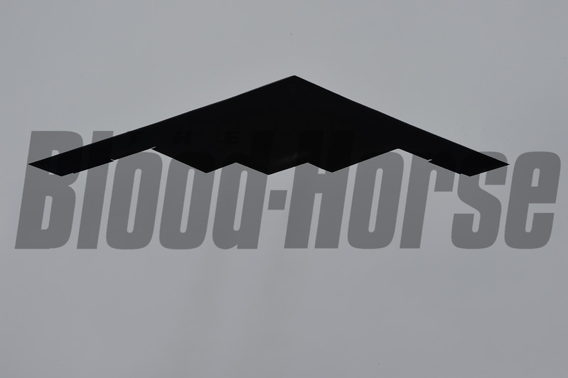 The B-2 Stealth bomber makes a flyover of Pimlico Race Course on Preakness Day May 20, 2017 in Baltimore, MD.  Photo by Skip Dickstein