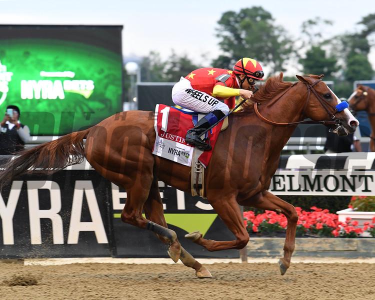 Justify wins 2018 Belmont Stakes at Belmont Park Saturday, June 9, 2018. Photo: Coglianese Photos/Viola Jasko