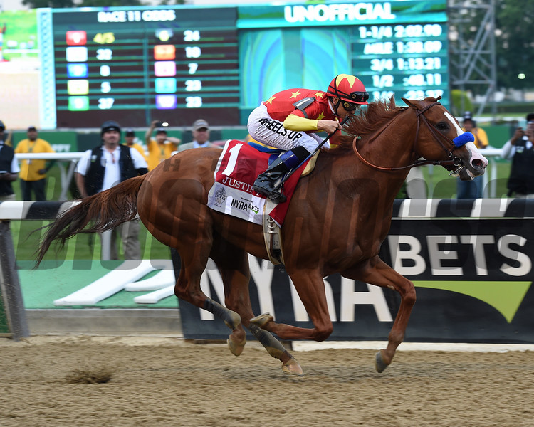Justify wins 2018 Belmont Stakes at Belmont Park Saturday, June 9, 2018. Photo: Coglianese Photos/Susie Raisher