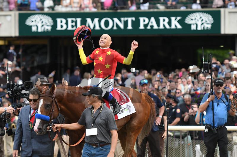 Justify wins 2018 Belmont Stakes at Belmont Park Saturday, June 9, 2018. Photo: Coglianese Photos/Annette Jasko