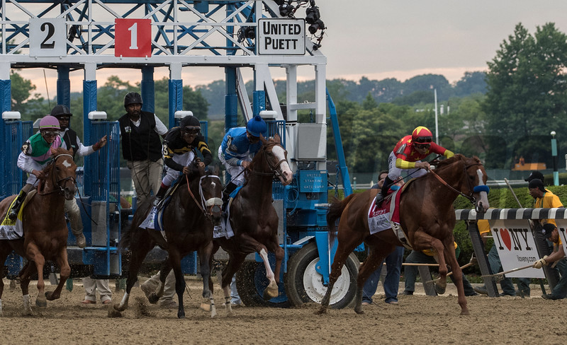 Justify with Jockey Mike Smith breaks the gate gate before the 150th running of the Belmont Stakes.  Photo by Skip Dickstein