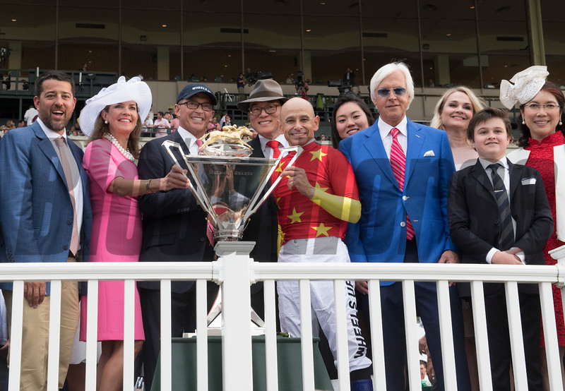 Connections and trainer surround jockey Mike Smith after winning the 150th running of the Belmont Stakes.  Photo by Skip Dickstein