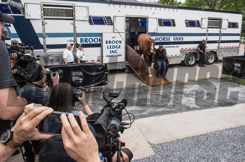 Justify takes his first steps on to the Belmont Park grounds after arriving from Louisville for his appearance in his attempt at a Triple Crown in Saturday's 150th Belmont Stakes Wednesday June 6, 2018 in Elmont, N.Y.  Photo by Skip Dickstein