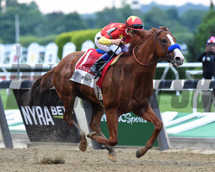 Justify wins 2018 Belmont Stakes at Belmont Park Saturday, June 9, 2018. Photo: Coglianese Photos/Zoe Metz