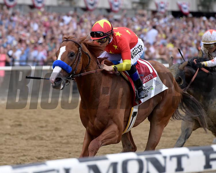 Justify wins 2018 Belmont Stakes at Belmont Park Saturday, June 9, 2018. Photo: Coglianese Photo/Joe Labozzetta