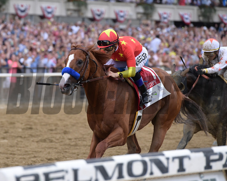 Justify wins 2018 Belmont Stakes at Belmont Park Saturday, June 9, 2018. Photo: Coglianese Photos/Joe Labozzetta
