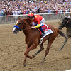 Justify wins 2018 Belmont Stakes at Belmont Park Saturday, June 9, 2018. Photo: Coglianese Photos/Chelsea Durand