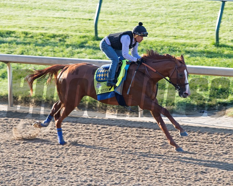 Justify with Martin Garcia works 5 furlongs in 1:01 2/5 at Churchill Downs June 4, 2018. Photo: Anne M. Eberhardt