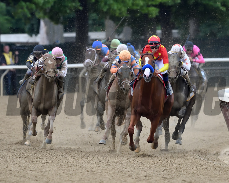 Justify wins 2018 Belmont Stakes at Belmont Park Saturday, June 9, 2018. Photo: Coglianese Photos/Rob Mauhar