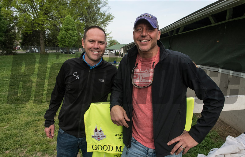Trainer Chad Brown and owner Bob Edwards at Churchill Downs Wednesday May 2, 2018. Photo by Skip Dickstein