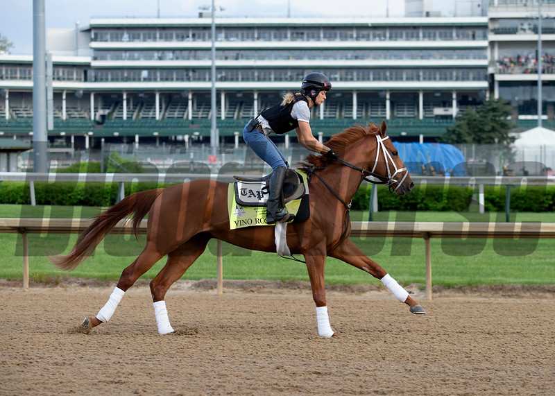 Kentucy Derby contender Vino Rosso working in the morning of May 2, 2018 at Churchill Downs.