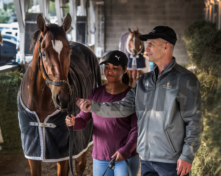 Coach Rocks with Terry Finley in the barn of Dale Romans at Churchill Downs.   Photo by Skip Dickstein