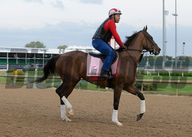 Kentucy Oaks contender Wonder Gadot working in the morning of May 2, 2018.
