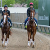 Free Drop Billy (left) and Promises Fulfilled in the morning at Churchill Downs on 5/3/18.