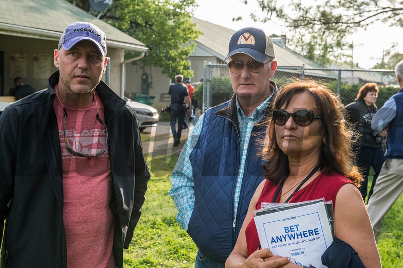 Owner of Good Magic Bob Edwards left and Barbara Banke, right stand with bloodstock agent John Moynahan at Churchill Downs Wednesday May 2, 2018. Photo by Skip Dickstein