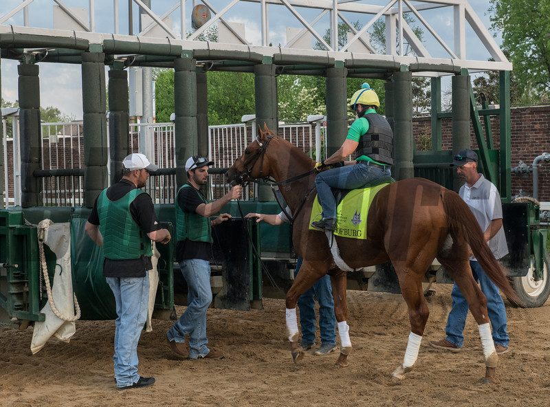 Hofburg schools at gate at Churchill Downs Wednesday May 2, 2018. Photo by Skip Dickstein