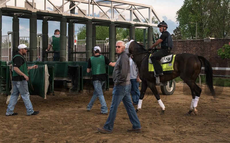Trainer Todd Pletcher schools Noble Indy at the gate  at Churchill Downs Wednesday May 2, 2018. Photo by Skip Dickstein