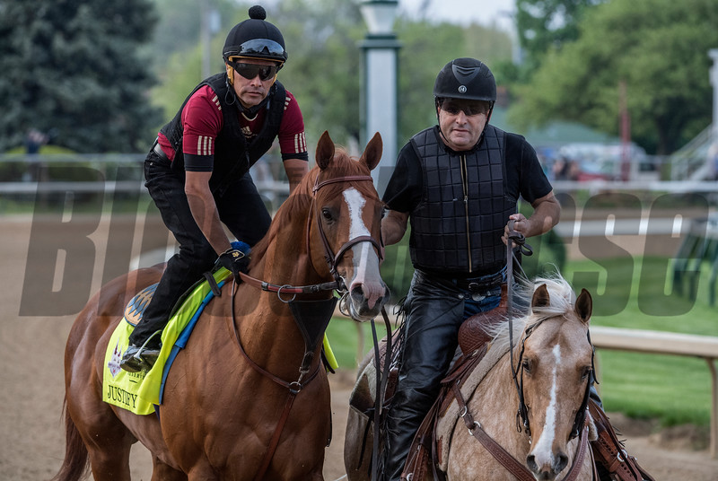 Justify goes out for his morning exercise at Churchill Downs Wednesday May 2, 2018. Photo by Skip Dickstein