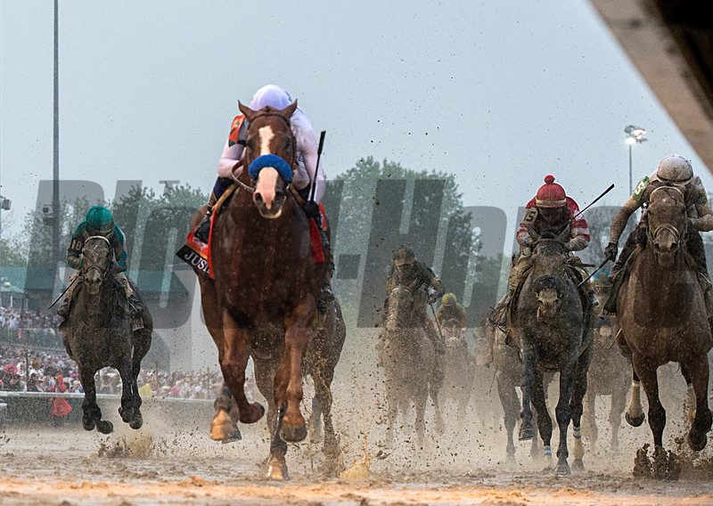 Justify and Mike Smith winning the Kentucky Derby today Churchill Downs on May 5, 2018.