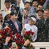 Jockey Mike Smith sprays the champagne after he wins the 144th running of the Kentucky Derby with Justify May 5, 2018 at Churchill Downs in Louisville, Kentucky Photo by Skip Dickstein