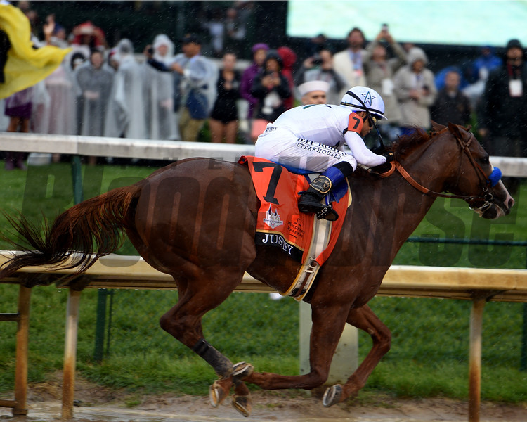 Justify with jockey Mike Smith wins the 144th running of the Kentucky Derby May 5, 2018 at Churchill Downs in Louisville<br /> Dave W. Harmon Photo