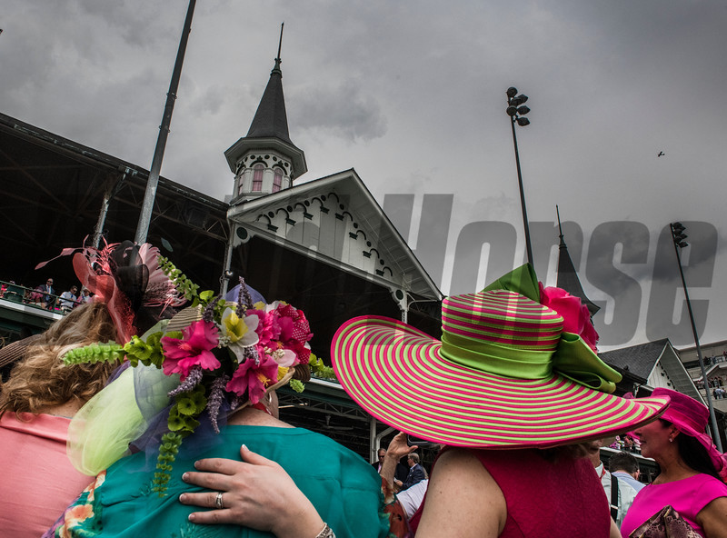 Hats hats and more hats on Oaks Day at Churchill Downs Friday May 4, 2018 in Louisville, Kentucky.  Photo by Skip Dickstein