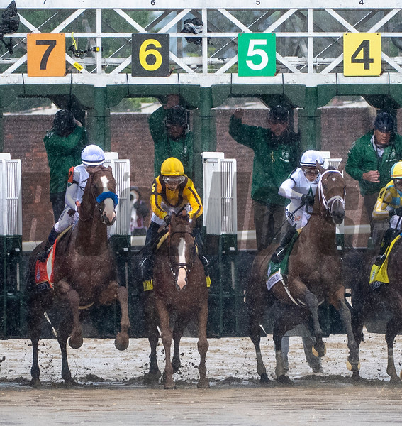 Justify, Good Magic, and Audible (left to right) break from the gate in the 144th running of the Kentucky Derby at Churchill Downs.