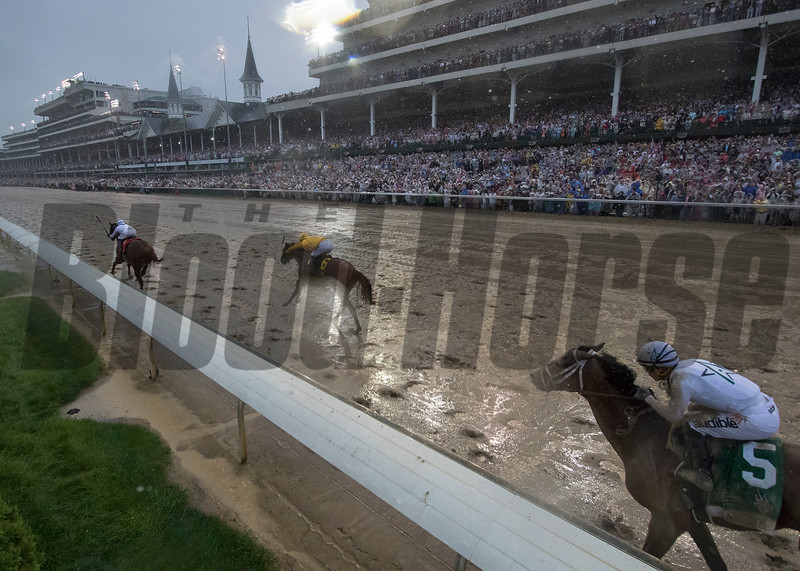 Justify and Mike Smith winning the Kentucky Derby today at Churchill Downs on May 5, 2018.