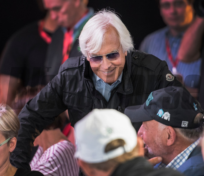 Trainer Bob Baffert is all smiles as Justify received Post Position #7 for the 143rd running of the Preakness Stakes. Photo by Skip Dickstein