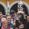 The Wolf family in the winner's circle after Justify wins the 143rd running of the Preakness Stakes. Photo by Skip Dickstein