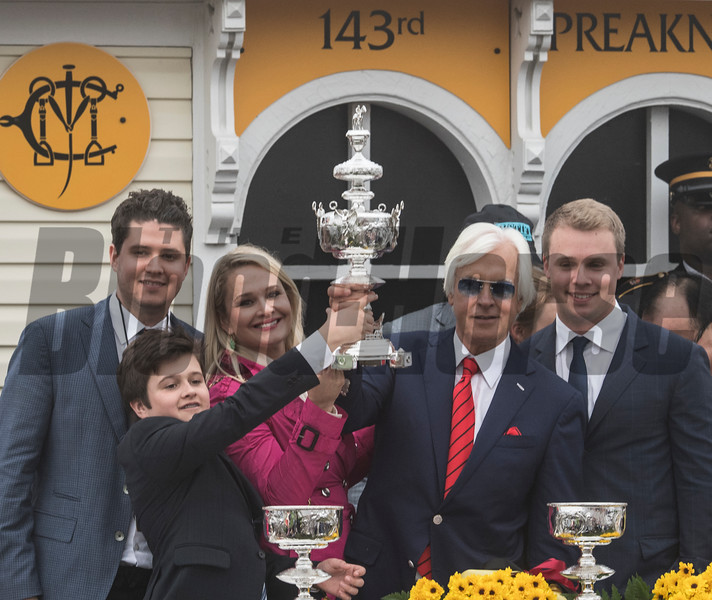 Baffert family in the winner's circle after Justify wins the 143rd running of the Preakness Stakes. Photo by Skip Dickstein