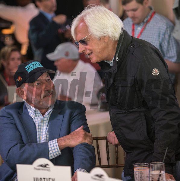 Starlight Racing's Jack Wolf and trainer Bob Baffert chat before Justify received Post Position #7 for the 143rd running of the Preakness Stakes. Photo by Skip Dickstein