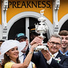 The Troutt family celebrates in the winner's circle after Justify wins the 143rd running of the Preakness Stakes. Photo by Skip Dickstein