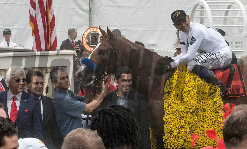Jockey Mike Smith aboard Justify after winning the 143rd running of the Preakness Stakes May 19, 2018 in Baltimore, MD  Photo by Skip Dickstein