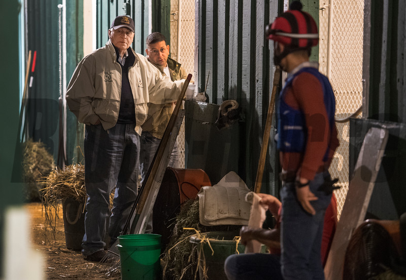 D. Wayne Lukas, left, on his Preakness entrants at Pimlico Race Course in preparation for Saturday's Preakness Stakes Thursday May 17, 2018 in Baltimore, MD.  Photo by Skip Dickstein