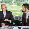 NYRA Broadcasters Gary Stevens and Paul LoDuca give a rundown of today's races at Belmont Park Friday June 7, 2019 in Elmont, N.Y.  Photo by Skip Dickstein