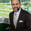 NYRA Broadcaster Paul LoDuca speaiks about today's races at Belmont Park Friday June 7, 2019 in Elmont, N.Y.  Photo by Skip Dickstein