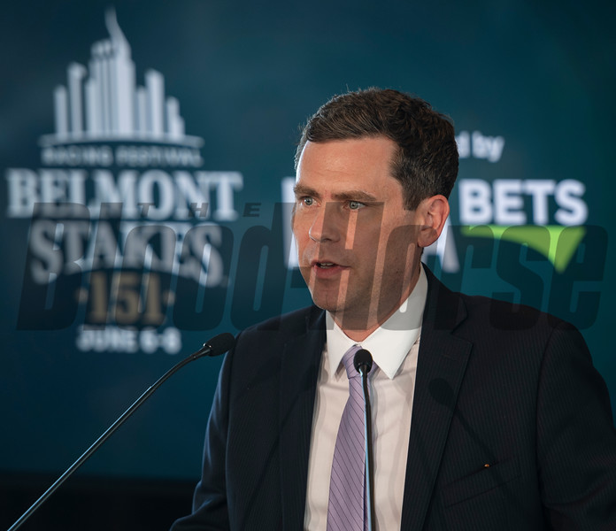 NYRA CEO David O'Rourke speaks at the Post Position Draw Tuesday June 4, 2019 at Citi Field in Queens , N.Y.  Photo by Skip Dickstein