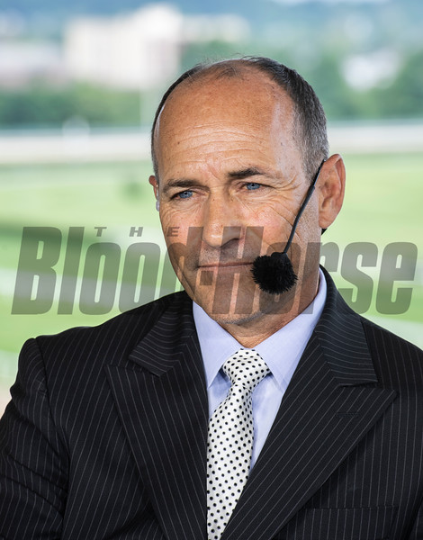 NYRA Broadcaster Gary Stevens speaiks about today's races at Belmont Park Friday June 7, 2019 in Elmont, N.Y.  Photo by Skip Dickstein