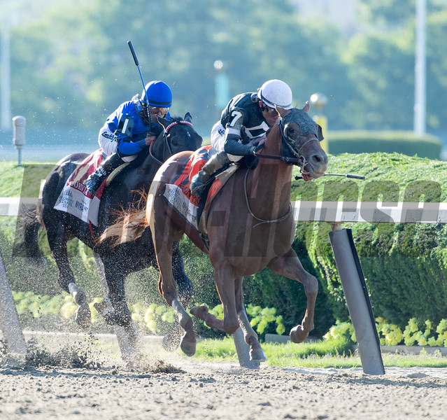 Sir Winston ridden by jockey Joel Rosario wins the 151st running of the Belmont Stakes held Saturday June 8, 2019 at Belmont Park in Elmont, N.Y.  Photo by Skip Dickstein
