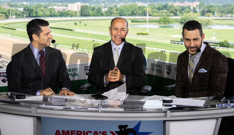 NYRA Broadcasters Greg Wolf, left with Gary Stevens, center and Paul LoDuca give a rundown of today's races at Belmont Park Friday June 7, 2019 in Elmont, N.Y.  Photo by Skip Dickstein