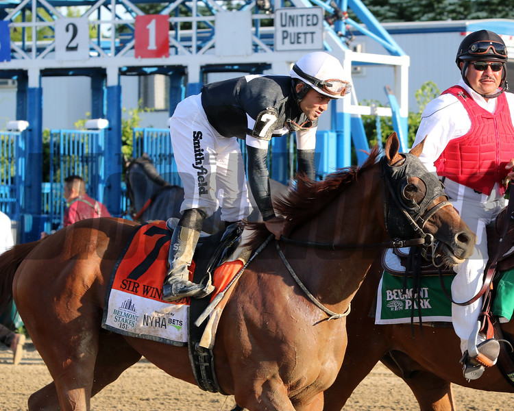 Sir Winston with Joel Rosario after winning the 151st Running of the Belmont Stakes (GI) at Belmont Park on June 8, 2019. Photo By: Chad B. Harmon