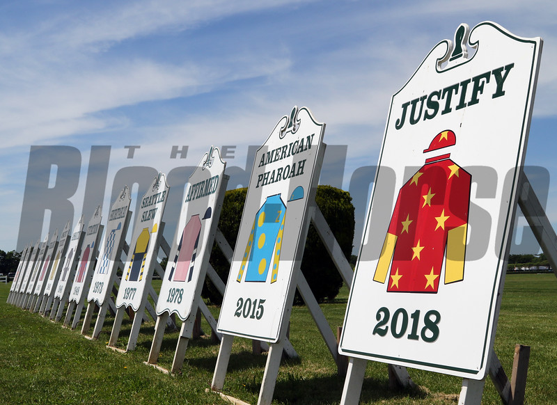 Triple Crown signs at Belmont Park on June 8, 2019. Photo By: Chad B. Harmon
