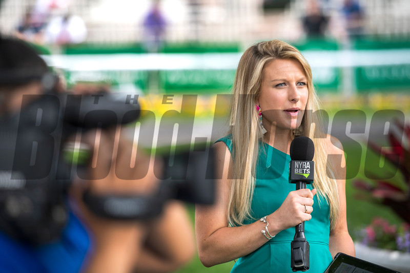 NYRA Broadcaster Maggie Wolfendale speaiks about today's races at Belmont Park Friday June 7, 2019 in Elmont, N.Y.  Photo by Skip Dickstein