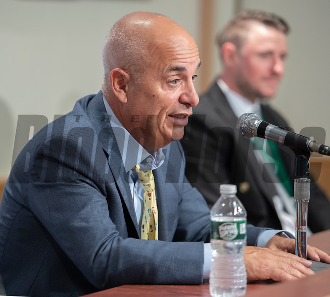 Tainer Mark Casse speaks at the post race press conference after Sir Winston won the 151st running of the Belmont Stakes held Saturday June 8, 2019 at Belmont Park in Elmont, N.Y.  Photo by Skip Dickstein